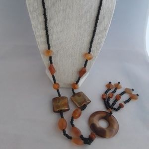 Black beads with stone accent Necklace